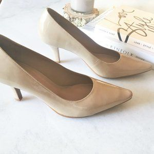 Worn 1x! Patent leather nude pointed toe pump shoe